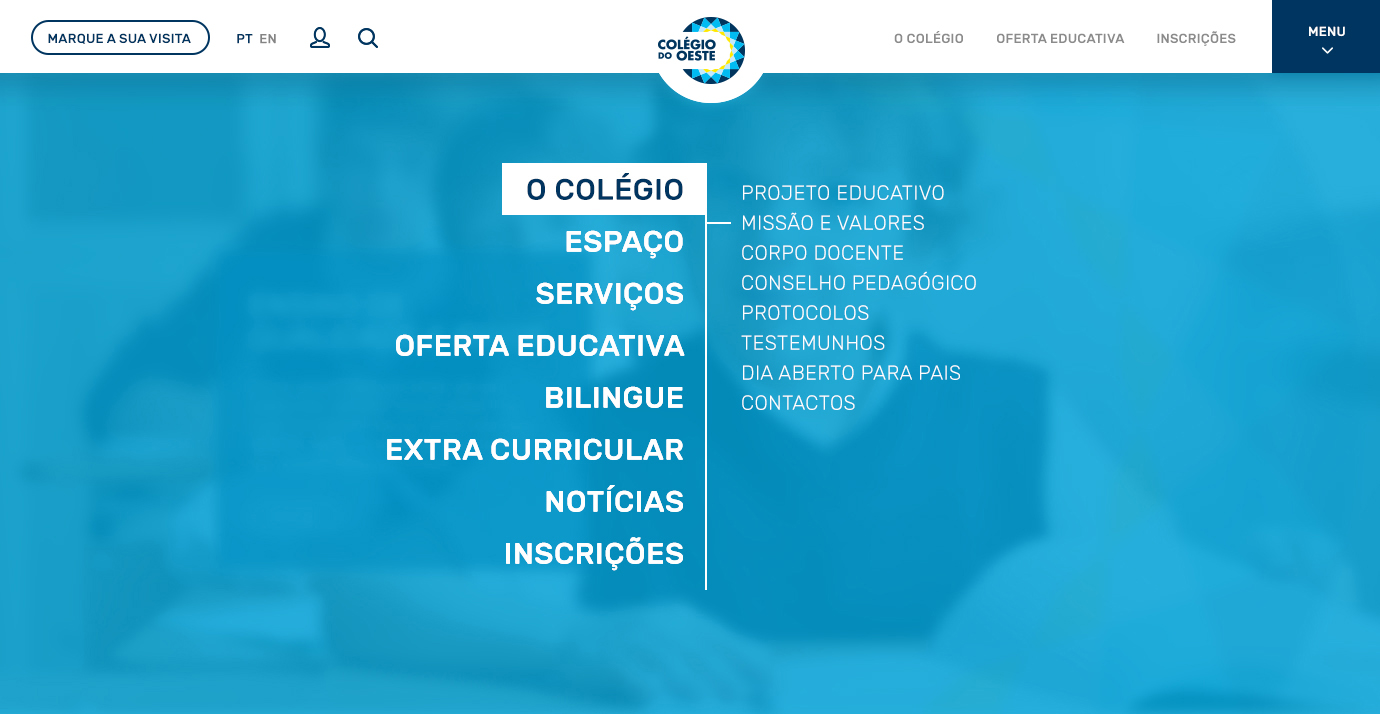 Colégio do Oeste | Layout website